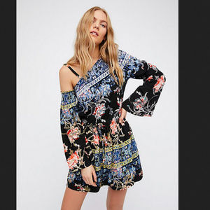 Free People one shoulder tunic/mini dress floral